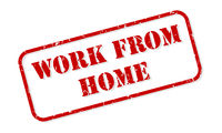Work From Home Rubber Stamp Vector