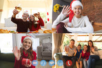 Four screens showing people having christmas video chats. family and friends at home