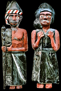 Batak figures man woman with black background