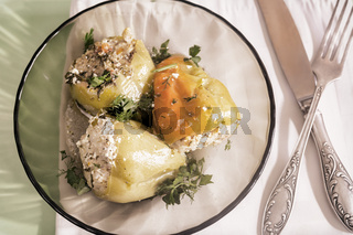 Delicious dish: stuffed bell pepper on a plate