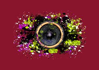 Music speaker and splattered paint