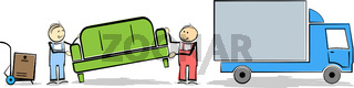 household moving concept with stickman workers transporting furniture and boxes to or from truck