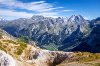 Mountain glaciers landscape view from the Petit Mont Blanc in Pralognan la Vanoise, French alps
