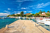 Zadar archipelago. Ugljan village idyllic island harbor and old architecture