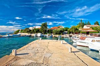 Zadar archipelago. Ugljan village idyllic island harbor and old architecture