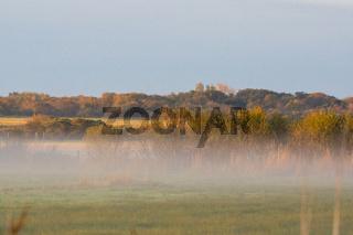Morgennebel über Wiesen und einer wunderschönen Landschaft