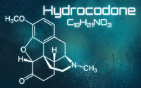 Chemical formula of Hydrocodone on a futuristic background