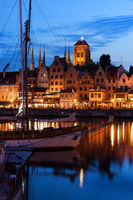 Old Port City of Gdansk at Twilight Evening