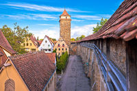Historic walls and tower in town of Rothenburg ob der Tauber view