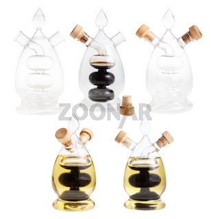 set from dispensers for oil and vinegar isolated