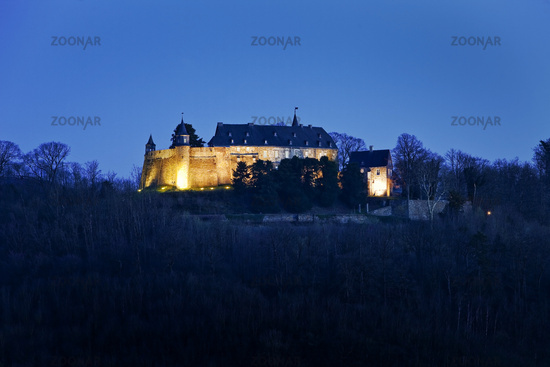 Hohenlimburg Castle in the evening, Hagen, Ruhr Area, North Rhine-Westphalia, Germany, Europe