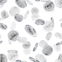 Bright glossy silver ancient coins, silver rain seamless pattern on white