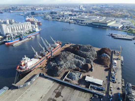 Amsterdam, 4th of November 2020, The Netherlands Recycling in Westpoort loading of metal in a ship