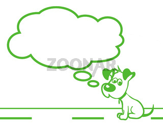 Sad puppy green flat image