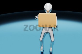 Character with package in the hands, 3D illustration