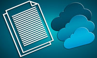 Blue internet cloud icon and White line text document