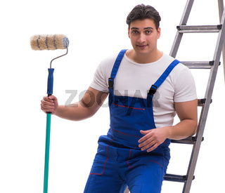 The young painter contractor isolated on white background