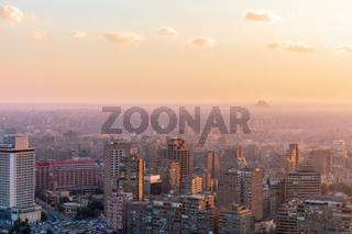 Cairo skyline in the sunset rays, Egypt