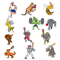 Animal Sports Cartoon Full Body Collection Set