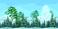 Seamless Christmas Winter Forest Landscape