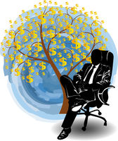 Silhouette of a man in a business suit sitting in a chair near the money tree