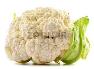 Fresh organic cauliflower isolated on white background