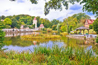 Historic town of Dinkelsbuhl lake and nature view