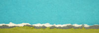 blue and green abstract landscape created with handmade Indian paper