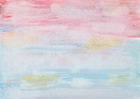Abstract watercolor painting with color blots in green, blue, pink, ocher and yellow