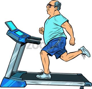 an elderly fat man treadmill, sports equipment for training. fitness room