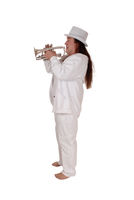 A trumpet player standing in a white outfit and hat