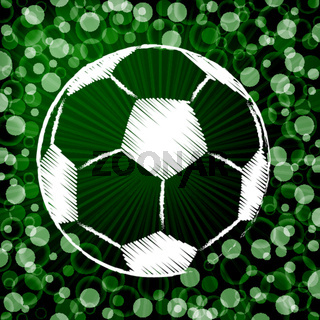 Soccer ball on abstract green background