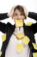 Woman with yellow paper notes