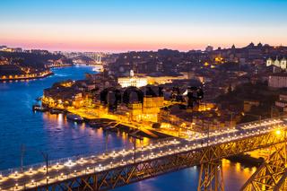 Porto Cityscape Portugal at dusk