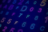 Hexadecimal code on digital computer screen.