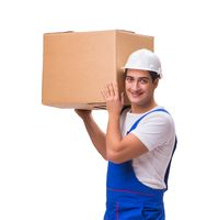 Man delivering box isolated on white