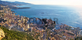 Principality of Monaco aerial panoramic coastline view