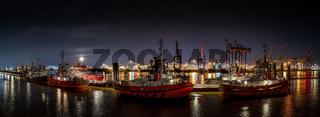 Panorama at night in the port of Hamburg