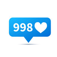 Bright red trendy icon for social network.A lot of heart likes, piktogram on white