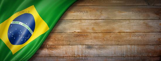 Brazilian flag on vintage wood wall banner