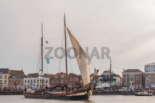 Kampen, The Netherlands - March 30, 2018: Clipper Hester at Sail Kampen