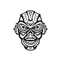 Angry Iron Skull Robot or Android Viewed from Front Mascot  Retro Black and White Style