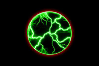 Chaotic electrical discharges on a black background. Green glowing lightning in a circle. Magical light effect.