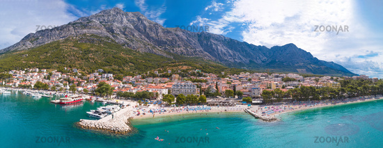 Adriatic town of Baska Voda beaches and waterfront aerial panoramic view