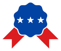 Flat Raster Quality Award Icon in American Democratic Colors with Stars