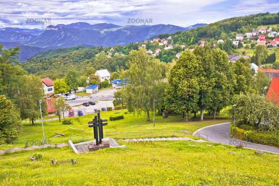 Mountain village of Skrad green landscape view