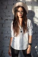 Nice woman posing in studio