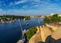 felucca boats on Nile river in Aswan