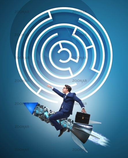 Uncertainty concept with businessman lost in maze labyrinth