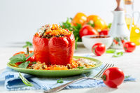 Sweet pepper stuffed with bulgur, meat and vegetables.